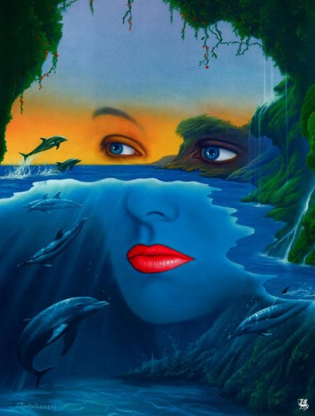dolphins-womans-face-ocean-painting