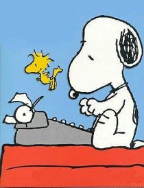 snoopy-on-doghouse-typing-woodstock