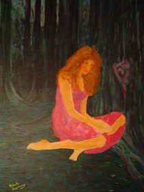 forlorn-girl-in-woods-painting-robert-e-harney