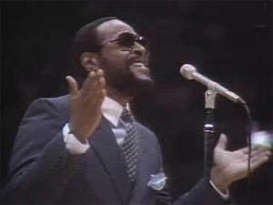 Marvin Gaye singing the national anthem at the 1983 NBA All-Star Game