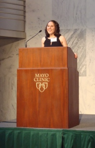 Shanna speaking at a Mayo Clinic fundraiser