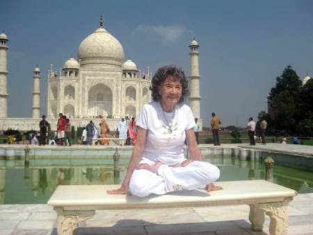 Tao Porchon-Lynch in an elevated lotus position at the Taj Mahal (photo courtesy of Joyce Pines)