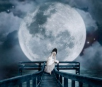 woman-bridge-moon-depressed-painting
