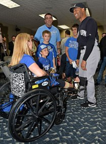 Mariano Rivera meeting the Bresette family in Kansas City on May 11, 2013. (Photo courtesy of John Sleezer/Landov)